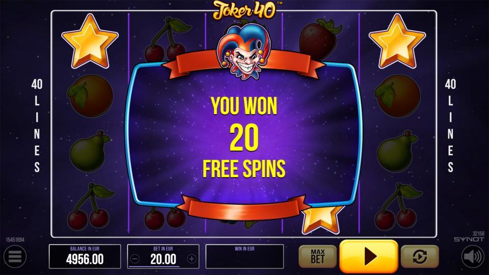 Joker40 Reels Free Spins Win