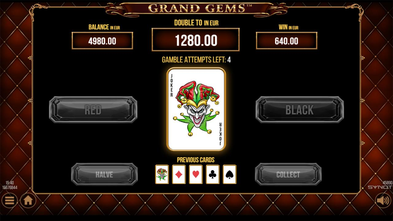 Grand Gems gamble all cards