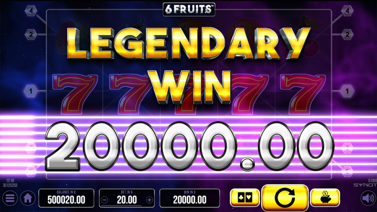 SixFruits Legendary win