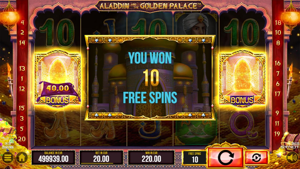 Aladdin and the Golden Palace free spins retrigger