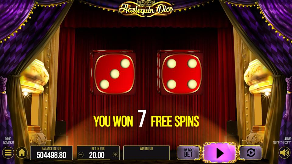 Harlequin Dice Free Spins dices