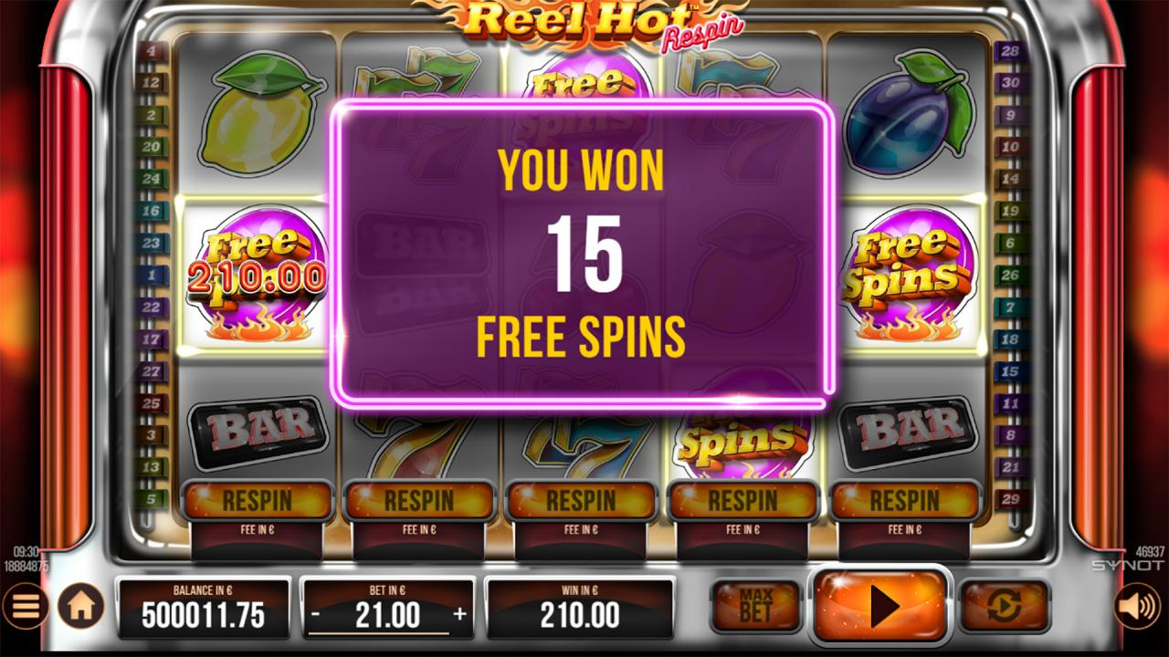 Reel Hot Respin free spins
